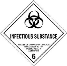 CT6.2L  Infectious Substances 6.2 Placard/Container Label 300mm x 300mm Class 6